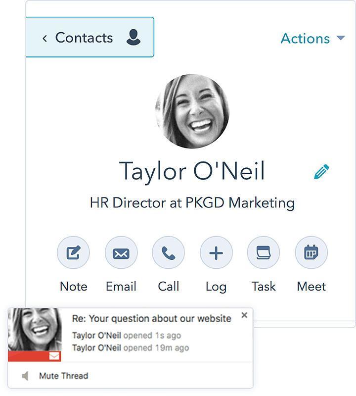 Đây là một ví dụ về lưu trữ thông tin liên lạc trên HubSpot. Bạn cũng có thể xem tính năng theo dõi email ở góc trái phía dưới, cho bạn biết khi nào một liên hệ mở email của bạn.