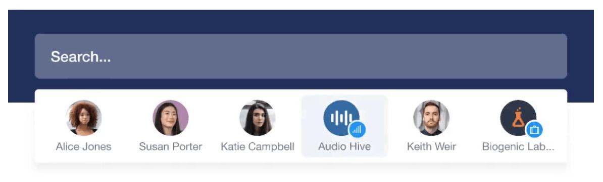 Đây là giao diện của đặc tính tìm kiếm nhanh trên Capsule, cho phép bạn tìm bất cứ thứ gì bạn muốn trên toàn bộ CRM, giống như một cụm từ trong ghi chú hoặc email.
